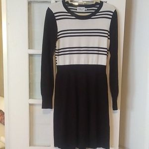 Eliza J Fit and Flare Striped Sweater Dress